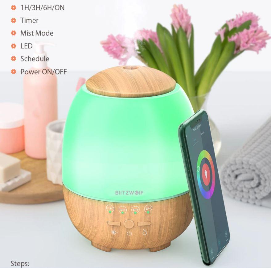BlitzWolf BW-FUN3 WiFi-s aromaterápiás párásító 1