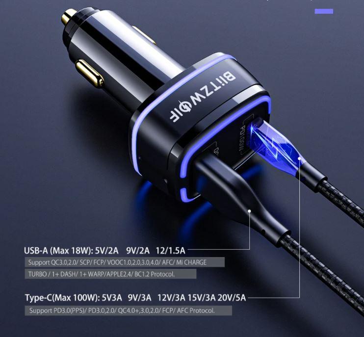 BlitzWolf® BW-SD8 118W-os autós töltő 1